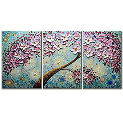 V-inspire Paintings, 24x36Inchx3 Paintings Oil Hand Painting 3D Hand-Painted On Canvas Abstract Artwork Art Wood Inside Framed Hanging Wall Decoration Abstract Painting from V-inspire