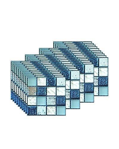 FBBULES 40 Piezas Pegatinas de Baldosas Calor Impermeable Papel Vinilo Adhesivo Pegatinas de Pared Decorativos para Sala Cocina Mosaico Azul (10 x 10 cm / 4 x 4 Pulgadas)