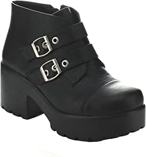 X2B Hayden-3 Women Round Toe Buckle Strap Side Zip Platform Chunky Ankle Booties