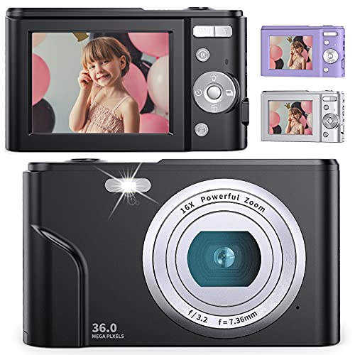 デジタルカメラ 子供用カメラ Anteam 3600万画素 HD1080P録画 16倍デジタルズーム 2.44インチIPS画面 ウェブカメラとして利用 手ぶれ補正/定時自撮り/3連写など 予備バッテリ*2 最大128GBのSDカード対応 日本語取扱説明書付き 子供や初心者など最適ギフト