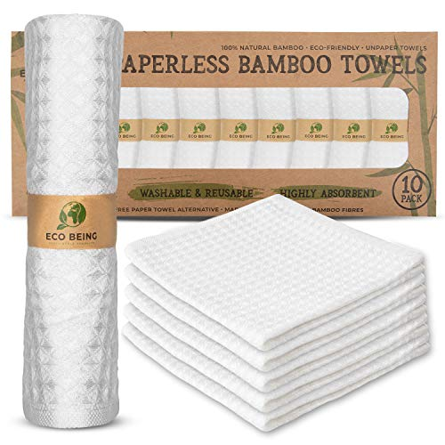 Reusable Paper Towels, Washable Unpaper Towels - Eco Friendly, Sturdy, Super Absorbent, Organic Bamboo Paper Towel Alternative. Perfect for Reusable Napkins, Washcloths & Zero Waste Towels for Kitchen