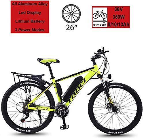 Bici elettriche Mountain Bike Elettriche da 26', Bici Ibride per Adulti, Bicicletta Elettrica per Pendolari con Motore da 350 W, Batteria al Litio da 36 V 8 / 10Ah / 13Ah(Color:Giallo,Size:10Ah 70Km)