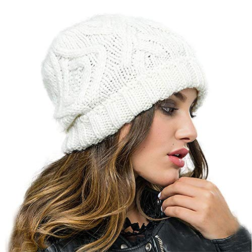Nogewul Winter Knit Beanie Hats for Women Stretchy Warm Slouchy Knitted Thick Skull Caps White
