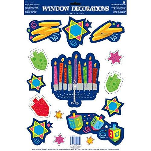 Joyous Hanukkah Festival Assorted Vinyl Window Decoration, Multi Color, Vinyl, 18' x 12', Pack of 15