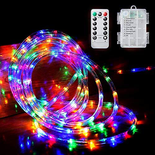 MIFIRE LED Lichtechlauch Lichterkette Außen, 100er LED 10M Lichtschlauch Außen mit Fernbedienung und Timer, IP65 Batteriebetrieben Lichterschlauch für Hochzeit, Party, Garten, Balkon, Terrasse