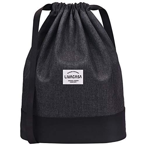 LIVACASA 13L Sac à Cordon Large de Yoga Impermeable en Oxford Sac de Gym à Bretelles Étanche Pliable Sac à Dos à Cordon pour Sport Ecole Natation Piscine Plage Camping Voyage Noir
