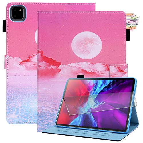 Billionn for New iPad Air 4th Generation 2020 Case + Screen Protector, for New iPad Air 4 10.9 Inch 2020 Case with Pencil Holder, Smart Cover with Auto Sleep/Wake Function, Sunrise
