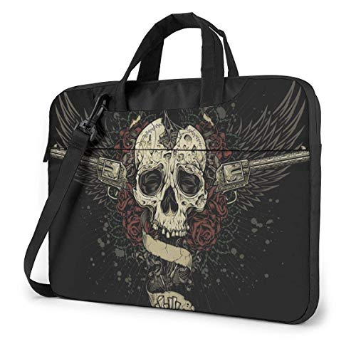 15.6 inch Laptop Shoulder Briefcase Messenger Crow Eating Sugar Skull Brain Laptop Case 13 Inch Computer Carrying Case with Strap Bag Tablet Bussiness Carrying Handbag Case Sleeve