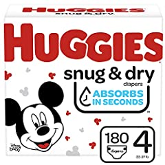Huggies Snug & Dry diapers size 4 fit babies 22-37 lb. (10-17 kg) Up to 12 Hours of Day or Night Protection – Huggies trusted Leak Lock System helps prevent leaks for up to 12 hours, day or night Absorbs in Seconds – Huggies Snug & Dry absorbs wetnes...