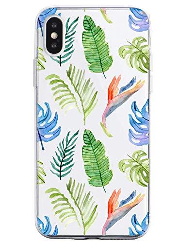 Suhctup Compatible con iPhone 6 Plus/6S Plus Funda Flor de TPU Transparente Diseño de Flores Patrón Cárcasa Ultra Fina Suave con Dibujos Claro Silicona Antigolpes Proteccion Caso(A14)
