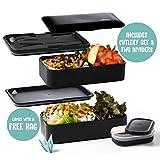 Atthys Lunch Box Schwarzer Bambus | Japanische Bento Design 3 Geschenkte Bestecke Bento Box 2 wasserdichte Fächer 1200 ml Mikrowelle- und Spülmaschinefest Brotdose Holz Erwachsene oder...