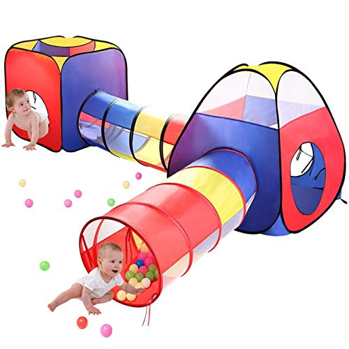 MRSGUO 4pc Kids Play Tents and Tunnels,Toddler Jungle Gym Play Tent with Play Crawl Tunnel Toy, for Boys Girl Infants Children, Balls Pit NOT Included, Indoor Outdoor Gift