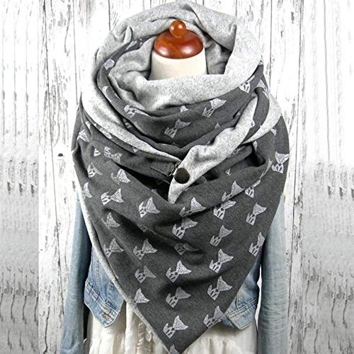 SJYM Moda Mujer Soild Dot Botón de impresión Envoltura Suave Casual Bufandas Calientes Chales Bufanda Bufanda de Mujer, X, Talla única