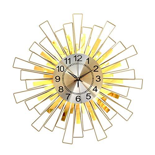 qwertyuio De Pared Grande Reloj De Pared De Metal 3D Sunburst - Llamativos Relojes Decorativos Sin Tic-TAC - Reloj De Esfera De Cuarzo con Rayas Cuadradas Geométricas Modernas - Grandes Rel