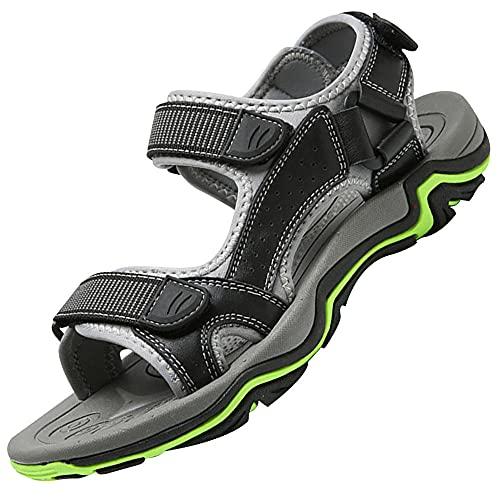 Zapatos de senderismo de verano al aire libre,Zapatos de senderismo de cuero pescador atletismo zapatos playa playa Adustable agua sandalia,, Negro, 38.5 EU