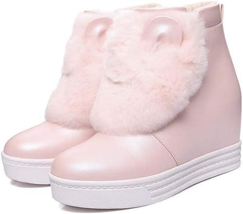 Hy Damenstiefeletten, Winter Leder dicken unteren Slip-Ons Ankle Stiefel, Damenmode Stiefel, Student Casual Schuhe Winterstiefel (Farbe   Rosa, Größe   37)