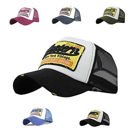 CheChury Trucker Mesh Hüte Baseball Cap Western Mode Sommer Kappe Vintage Basecap Distressed Snapback Hüte Baseballmütze Used Look Retro Mütze