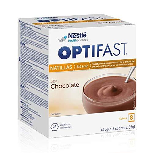 OPTIFAST Natillas Chocolate. Estuche de 8 sobres de 55g, sustitutivos
