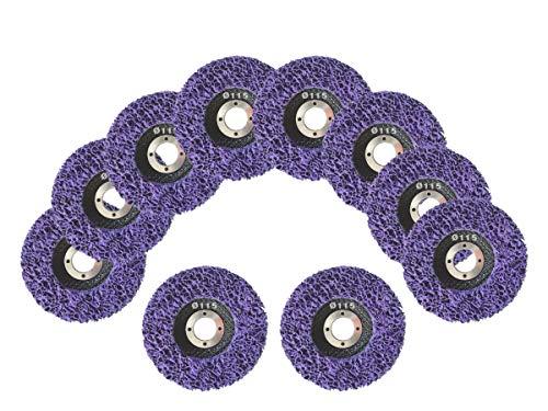 10 Stück Reinigungsscheibe Grobreinigungsscheibe CSD Ø 115mm CBS für Winkelschleifer Clean Strip Disc Premium Purple Nylongewebescheibe