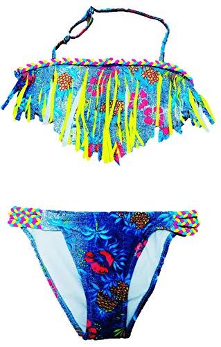 VanessasShop Schöner Mädchen Neckholder Bikini in Jeans Optik mit Fransen in den Größen 122-158 (140-146)