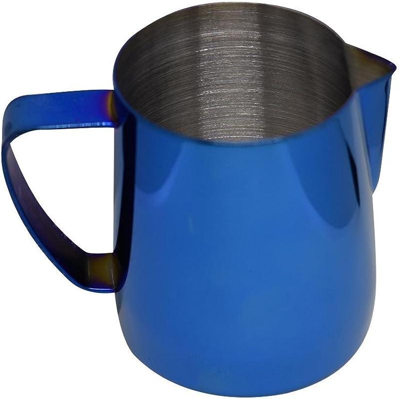Latte Art Stainless Steel Milk Frothing Pitcher Cobalt Blue 12 Oz Titanium Mirror Finish