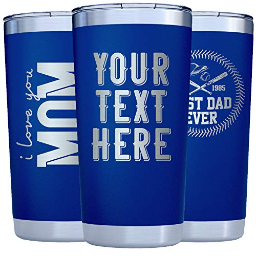 Personalized Tumblers w/Splash Proof Lid - 20oz Royal Blue - Vacuum Insulated Travel Coffee Mugs - Stainless Steel Double Wall - Personalized Cups - Gifts for Her, Him w Name