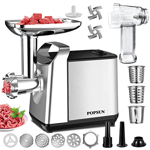 Meat Grinder Electric, Rotary Cheese Grater Max 2000W Food Slicer 4-In-1 Powerful Electric Meat Grinder • Sausage Stuffer • Kubbe Maker •...