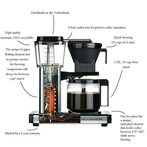 Technivorm Moccamaster 59462 KBG, 10-Cup Coffee Maker, 40 oz, Black
