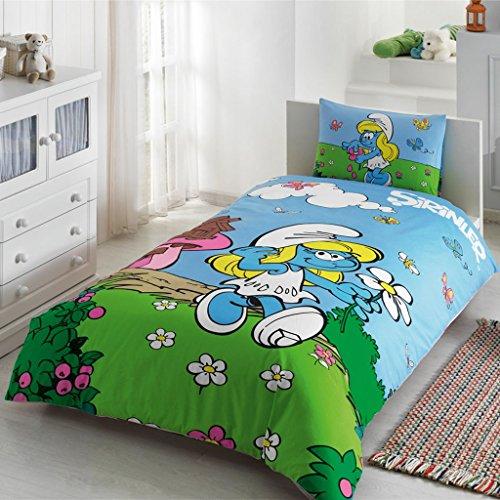 Para niños 100% algodón los pitufos cama individual infantil cama Funda de edredón (160 x 220 cm), Sábanas Ajustables (100 x 200 cm) y funda de almohada (50 x 70 cm)
