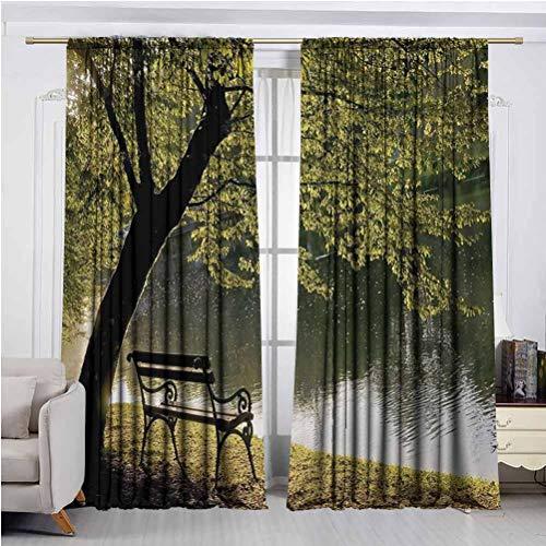 LanQiao - Cortinas impermeables para ventana, banco bajo el árbol de madera por Riverside Epic Countryside rural relajante espacio de descanso paisaje, ahorro de energía, oscurecimiento de habitación W108 xL108