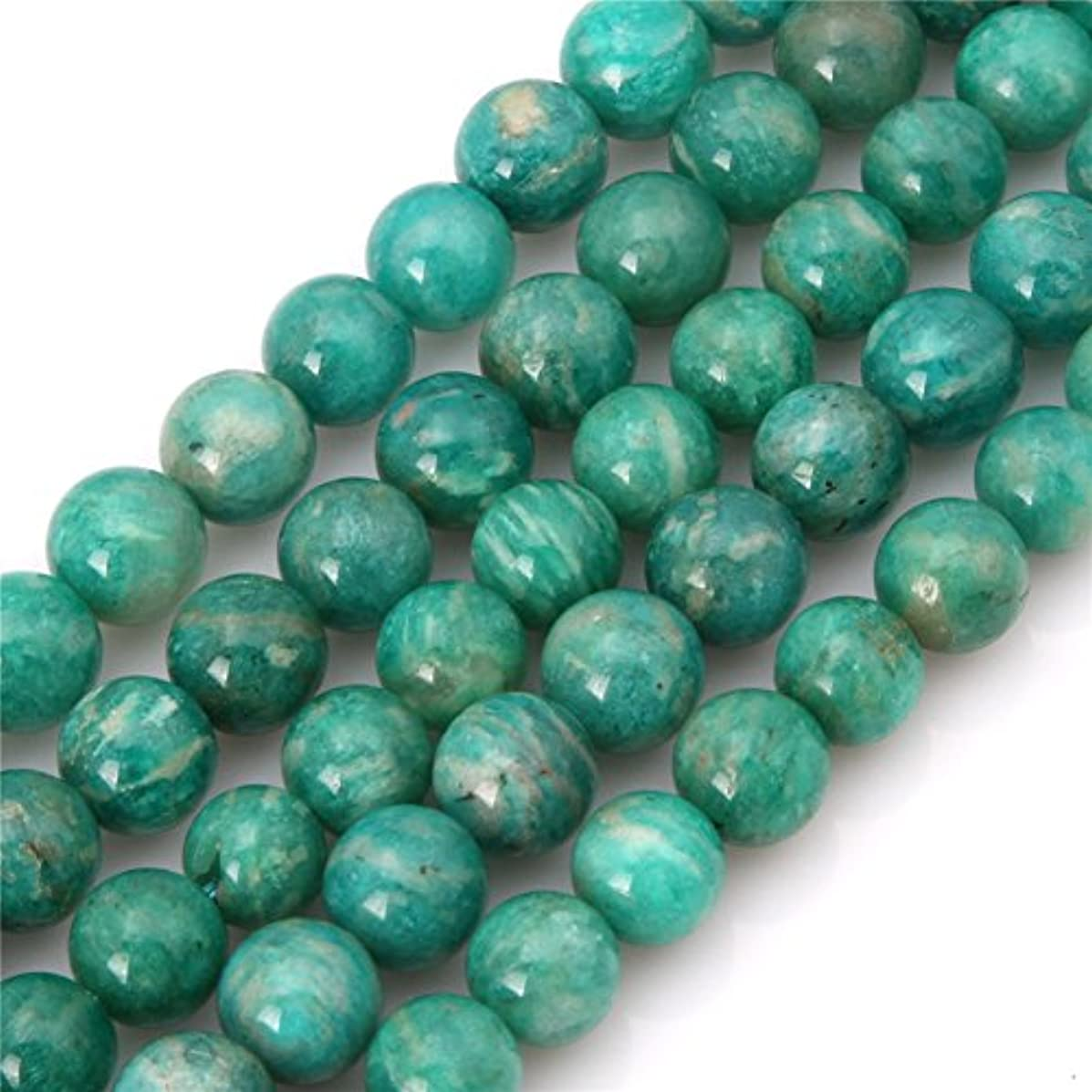 Natural Green Amazonite Stone Beads for Jewelry Making 15'' (8mm/Round)