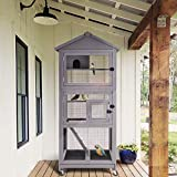 GUTINNEEN Outdoor Bird Aviary Wooden Large Bird Cage on Wheels, Featuring Play Stand, Perches, Nest Habitat, Include...
