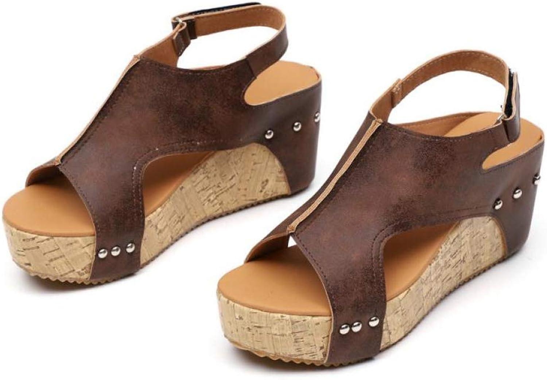 Woman Boho Open Toe Wedge Platform High Heel Clog Sole Sandals Female Casual Buckle Strap shoes