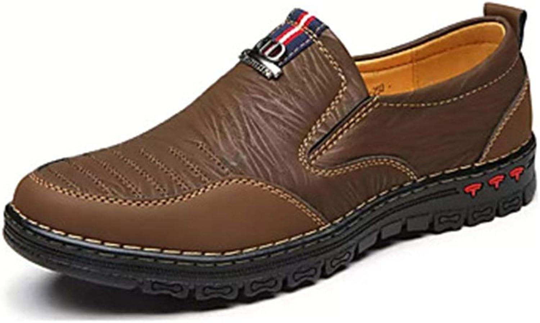 EGS-schuhe Herren Komfort Schuhe Rindsleder Frühling Casual Slipper Slipper Atmungsaktiv Gelb Khaki,Grille Schuhe (Farbe   braun, Größe   US1O)