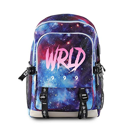 School Backpack,Hip Hop Juice Wrld Printed Casual Backpack Travel USB Charging Backpack-Starry Sky E