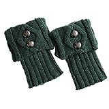 COZOCO Calentador De Punto Cálido De Pierna De Invierno Para Mujer Botines De Ganchillo Botas Perezosas (una talla, verde)