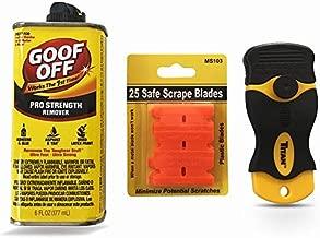 Goof Off Adhesive Removal Kit and Titan Mini Scraper / 25 Plastic Blades