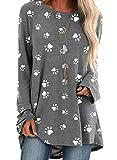FOBEXISS Camiseta casual de manga larga con estampado de huellas de perro, cuello redondo, para mujer, estilo holgado