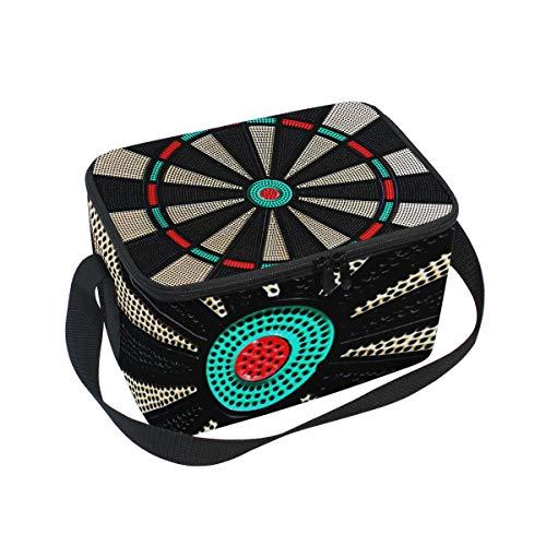 Lunch Bag Vintage Spiel Darts Board Rad Totenkopf Kühler für Picknick Schultergurt Lunchbox
