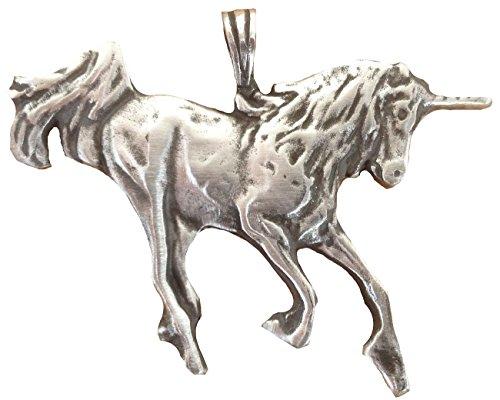 Ticila Unisex Uomo e Donna ciondolo cromo moda gioielli Unicorno Cavallo Vecchio argento colore