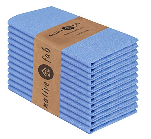 Native Fab Stoffservietten 12er-Set 100% Baumwolle 44x44 cm für Veranstaltungen und regelmäßige Heimnutzung, Weich Bequem Maschinenwaschbar Wiederverwendbare Servietten Blau