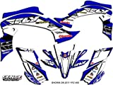 Senge Graphics Kit compatible with Yamaha 2003-2008 YFZ 450 (Steel Frame), 13 Fly Racing Blue Graphics Kit with blank number plates
