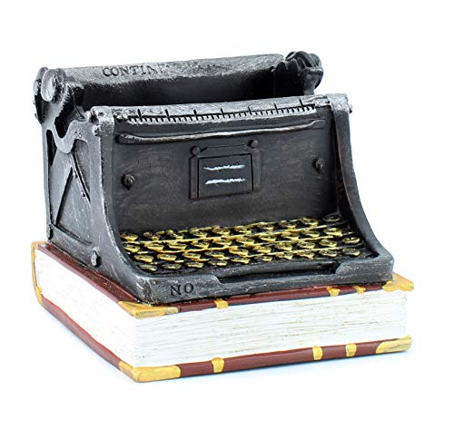Cornucopia Vintage Typewriter Pencil Holder, Typewriter and Book Shaped Desk Accessory for Pencils and Office Supplies