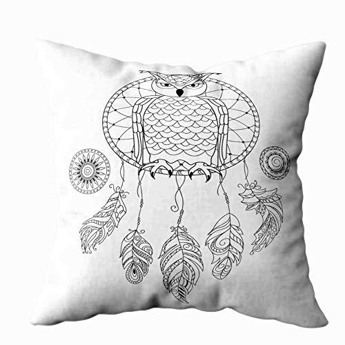 Funda de almohada para el hogar, 50,8 x 50,8 cm, diseño de atrapasueños, búho aislado, color blanco, para colorear para adultos, decoración de libros con cremallera, fundas de cojín para sofá cama