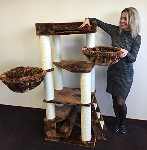 Cat Tree for Large Cats – Corner Cat XXL Brown – 59 inch 105 lbs 5 inch Ø poles – Total size 59x24x22 inch – Cat Scratcher scratching post activity center Cat Trees for large cats. Quality product fro