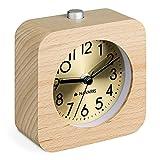 Navaris Reloj Despertador de Madera - Reloj clásico analógico y silencioso de sobremesa a Pila con luz led y Alarma con repetición - Marrón y Oro