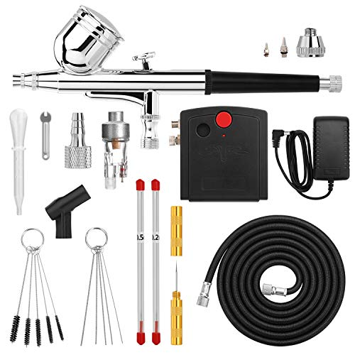 Airbrush, AGPTEK Mini Airbrush with Air Compressor, Dual Action Portable Airbrush Kit for Cake Decorating, Craft Tools, Makeup, Painting and Manicure