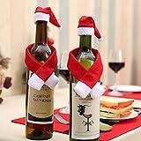YUY Weihnachten Mini Weihnachtsmütze Und Schal Weihnachten Weinflasche Abdeckung Set Für Tischdekoration Besteck Tasche Weinflasche Dekorationen Für Party