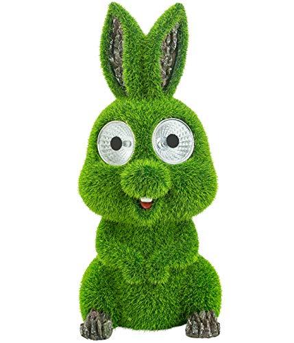 Dehner Dekofigur Solarleuchte Kaninchen Lilly, ca. 24 x 10.5 x 11.5 cm, Polyresin/Kunststoff, grün/grau