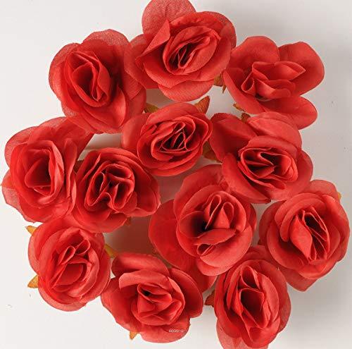 Artif-deco - Tetes de rose artificielle x 12 rouge d 4 50 cm pour boule de rose